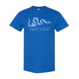 Join Or Die T-Shirt | Join Or Die Royal Blue T-Shirt the front of this join or die shirt has the join or die political cartoon on it