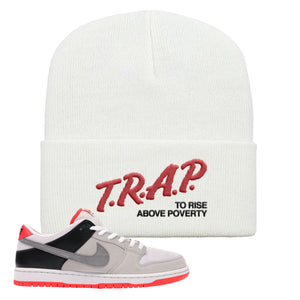 Nike SB Dunk Low Infrared Orange Label Trap To Rise Above Poverty White Beanie To Match Sneakers