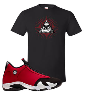 Air Jordan 14 Gym Red T Shirt | Black, All Seeing Eye