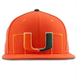 The Miami Hurricanes snapback hat has the Hurricanes logo embroidered on the front in orange and green with a white trim
