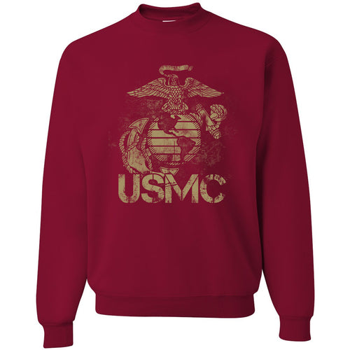 Standard Issue Distressed USMC Cardinal Red Grunt Life Crewneck Sweater