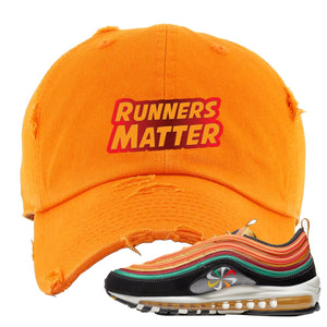 Embroidered on the front of the Air Max 97 Sunburst sneaker matching orange distressed dad hat is the Runners Matter logo