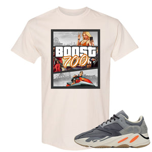 Yeezy Boost 700 Magnet GTA Cover Natural Sneaker Matching Tee Shirt