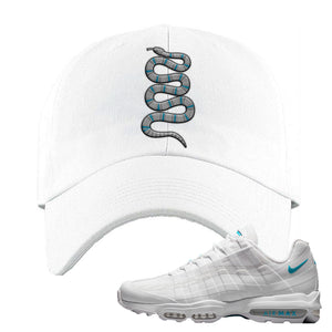Air Max 95 Ultra White Glacier Blue Dad Hat | Coiled Snake, White