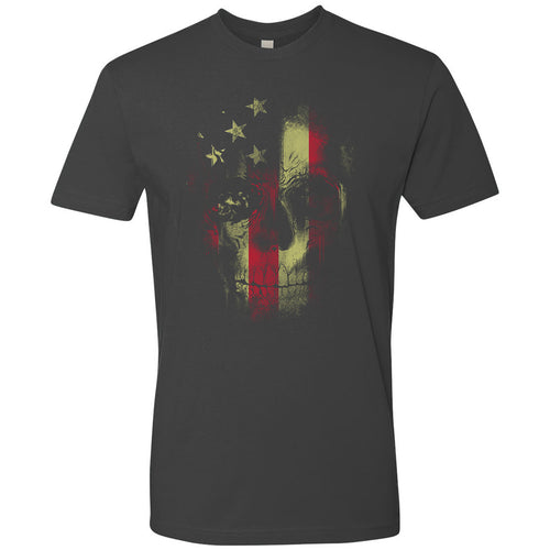 Standard Issue Distressed Reaper Skull American Flag Gray Grunt Life T-Shirt