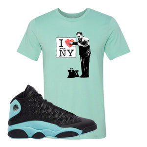I Heart ÑY Doctor Heather Mint T-Shirt To Match Jordan 13 Island Green Sneakers