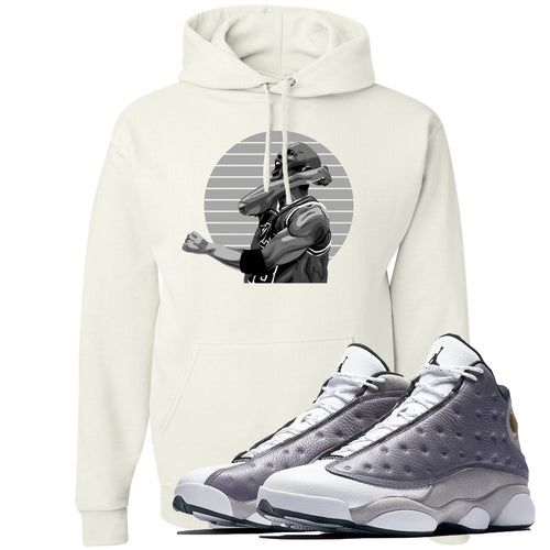 Jordan 13 Atmosphere Grey Jordan Scream White Hoodie