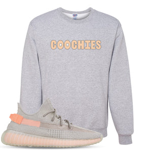 Yeezy Boost 350 True Form V2 Sneaker Hook Up Coochies Heathered Light Gray Crewneck Sweater