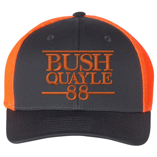 Standard Issue Bush Quayle 1988 Campaign Grunt Life Charcoal/Orange Trucker Flexfit Hat