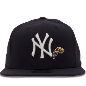 Embroidered next to the New York Yankees logo on the New York Yankees 9Fifty Snapback Hat is a Pizza Slice