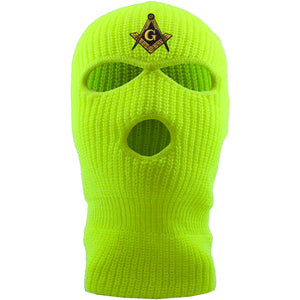 Embroidered on the front of the safety yellow masonic ski mask is the free mason square compass embroidered in metallic gold and black jackboys