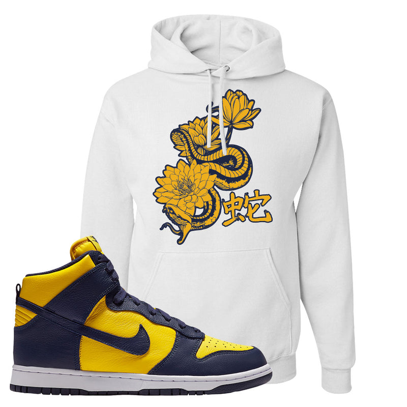Nike Dunk High SP Michigan Pullover Hoodie | Snake Lotus, White