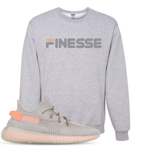 Yeezy Boost 350 True Form V2 Sneaker Hook Up Finesse Heathered Light Gray Crewneck Sweater