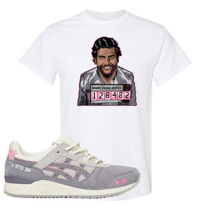 END x Asics Gel-Lyte III Grey And Pink T Shirt | Escobar Illustration, White