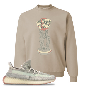 Yeezy Boost 350 V2 Citrin Non-Reflective The World Is Yours Statue Sandstone Sneaker Matching Crewneck Sweatshirt