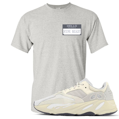 Yeezy Boost 700 Analog Sneaker Match Hello My Name Is Hype Beast Pablo Heathered Light Gray T-Shirt