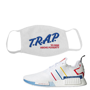 NMD R1 Olympic Pack Face Mask | White, Trap To Rise Above Poverty