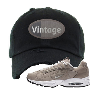 Air Max Triax 96 Grey Suede Distressed Dad Hat | Vintage Oval, Black