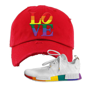 NMD R1 Pride Distressed Dad Hat | Red, Love Park