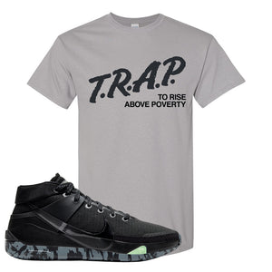 Nike KD 13 Black And Dark Grey T-Shirt | Trap To Rise Above Poverty, Gravel