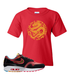 Air Max 1 NYC Chinatown Strength Of A Dragon Red Kid's T-Shirt To Match Sneakers