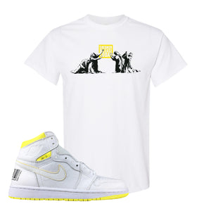 Air Jordan 1 First Class Flight Sneaker Release Today White Sneaker Matching T-Shirt