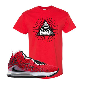 Lebron 17 Uptempo T Shirt | Red, All Seeing Eye