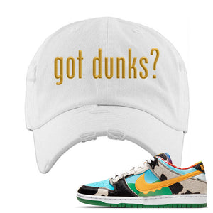 SB Dunk Low 'Chunky Dunky' Distressed Dad Hat | White, Got Dunks?