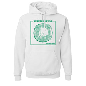 The Vet Seating Chart Pullover Hoodie | Veterans Stadium Seating Chart White Pull Over Hoodie the front of this hoodie has the vet seating chart