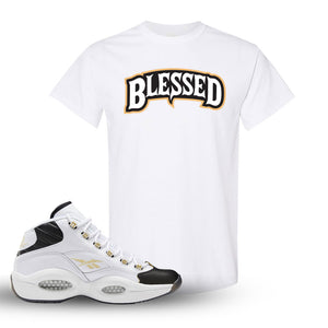 Question Mid Black Toe Sneaker White T Shirt | Tees to match Reebok Question Mid Black Toe Shoes | Blessed Arch