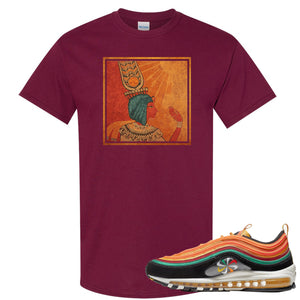 Printed on the front of the Air Max 97 Sunburst maroon sneaker matching t-shirt is the Vintage Egyptian logo