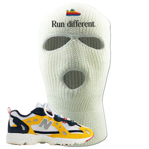 827 Abzorb Multicolor Yellow Aime Leon Dore Sneaker White Ski Mask | Winter Mask to match 827 Abzorb Multicolor Yellow Aime Leon Dore Shoes | Run Different