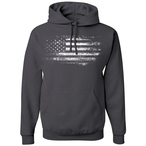Standard Issue Constitution Distressed American Flag Dark Gray Pullover Grunt Life Hoodie
