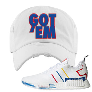 NMD R1 Olympic Pack Distressed Dad Hat | White, Got Em