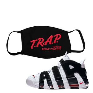 Air More Uptempo White Black Red Face Mask | Black, Trap To Rise Above Poverty