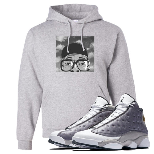 Jordan 13 Atmosphere Grey Spike Hat and Glasses Light Gray Hoodie