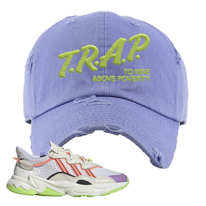 Ozweego Chaos Distressed Dad Hat | Violet, Trap To Rise Above Poverty