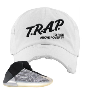 Yeezy Quantum Distressed Dad Hat | White, Trap To Rise Above Poverty