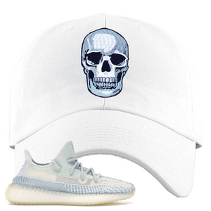 Yeezy Boost 350 V2 Cloud White Non-Reflective Skull Sneaker Matching White Dad Hat