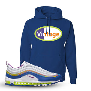 Air Max 97 'Easter' Sneaker Royal Pullover Hoodie | Hoodie to match Nike Air Max 97 'Easter' Shoes | Vintage Oval