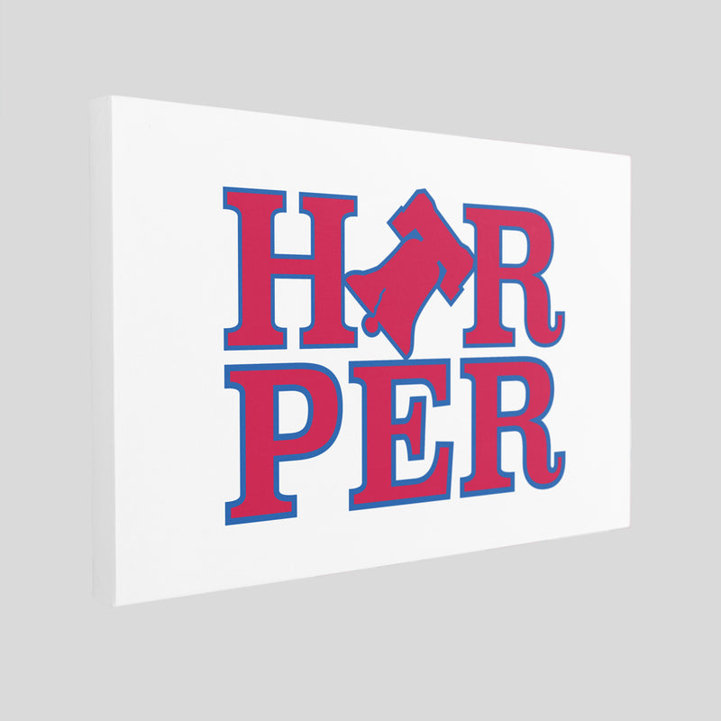 Harper Bell Canvas | Bryce Harper Bell White Wall Canvas the front of this white canvas has the bryce bell logo