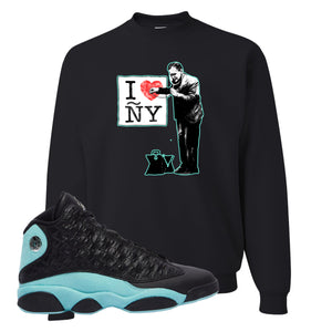 I Heart ÑY Doctor White Crewneck Sweatshirt To Match Jordan 13 Island Green Sneakers