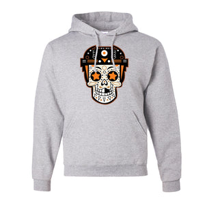 Broad Street Bullies Skull Pullover Hoodie | Broad Street Bullies Candy Skull Ash Pull Over Hoodie the front of this hoodie has the bullies skull logo