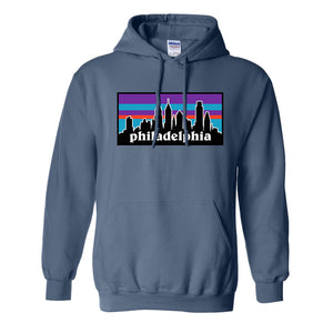 Philagonia Hoodie | Philagonia Skyline Indigo Blue Sweatshirt the front of this pullover hoodie has the philagonia design