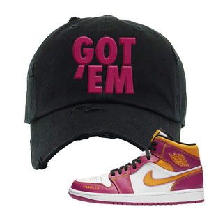 Air Jordan 1 Mid Familia Distressed Dad Hat | Got Em, Black