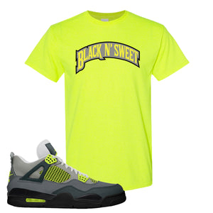Jordan 4 Neon Sneaker Safety Green T Shirt | Tees to match Nike Air Jordan 4 Neon Shoes | Black N Sweet Arch