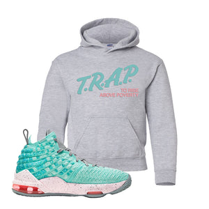 Lebron 17 South Beach Kids Pullover Hoodie | Trap to Rise Above Poverty, Sport Grey