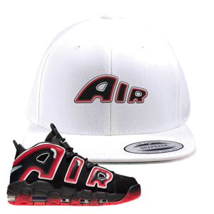 Air More Uptempo Laser Crimson Snapback Hat | White, Air From The Sneaker