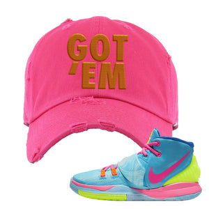 Kyrie 6 Pool Distressed Dad Hat | Pink, Got Em