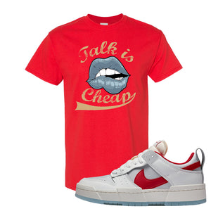 Dunk Low Disrupt Gym Red T Shirt | Talk Is Cheap, Red